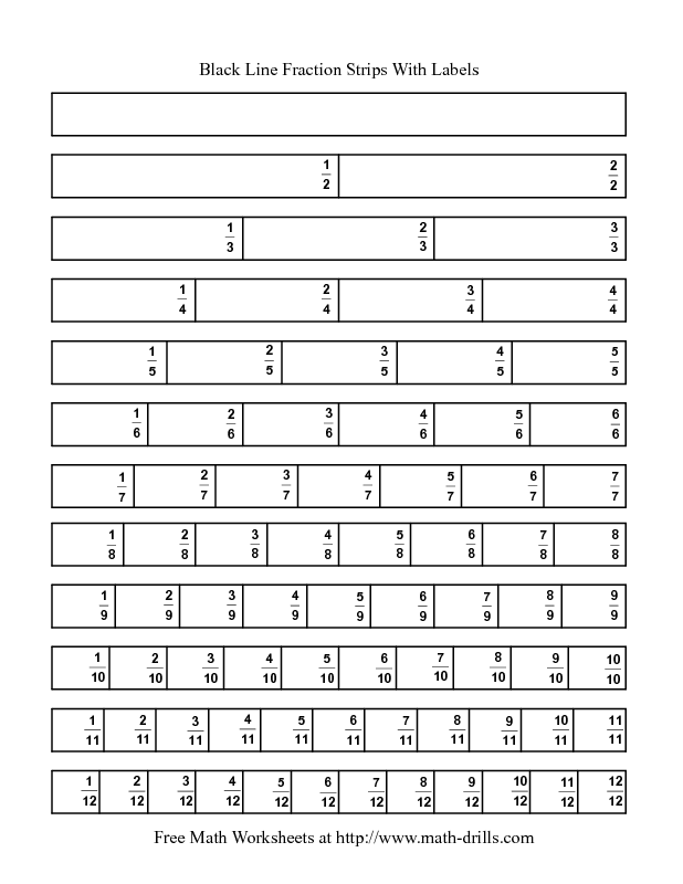 Fractions Worksheet -- Blackline Fraction Strips -- Labeled | School ...