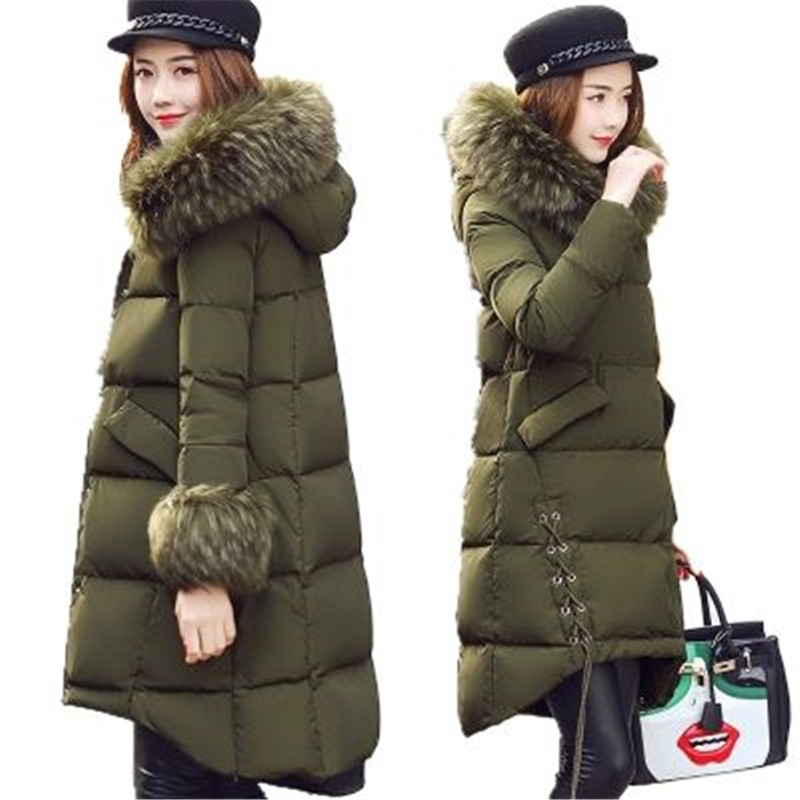 77.00$  Buy here - http://aliujv.worldwells.pw/go.php?t=32782081656 - 2017 New Winter Maternity Women Coat Warm Large Fur Collar Medium Long Fashion Down Cotton Jacket Thick Hooded Down Coat AK259