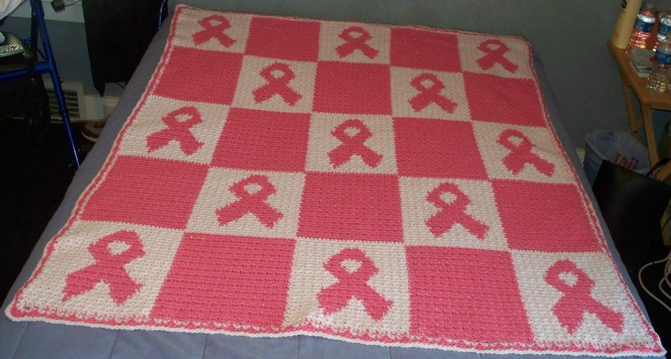 Crocheted pink ribbon cancer afghan design by patti m sanders crocheted pink ribbon cancer afghan design by patti m sanders dt1010fo