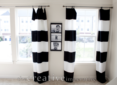 Black And White Horizontal Striped Curtains Made From Tablecloths