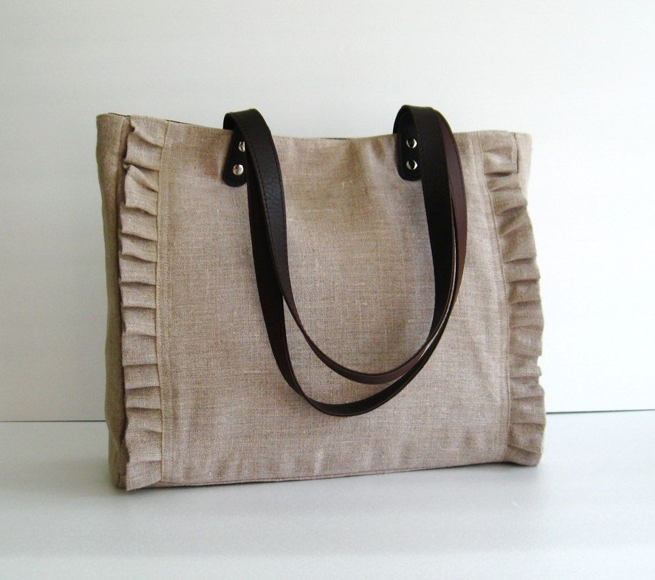 Natural Color Linen Tote, handbag, purse, shoulder bag ...
