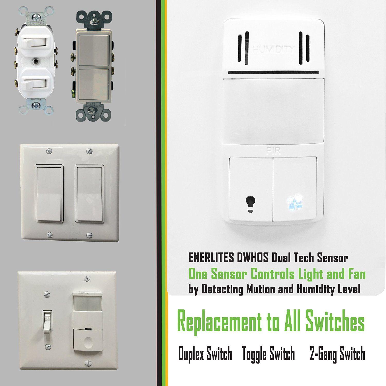 Enerlites DWHOS-W Humidity/Motion Sensor Switch for Bathroom Fan ...