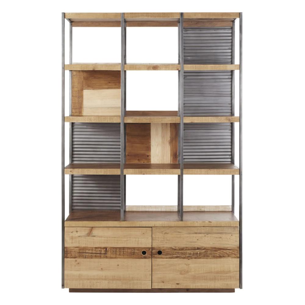 Bücherregal mit 7 Türen in Lattenoptik und Metall  Maisons du