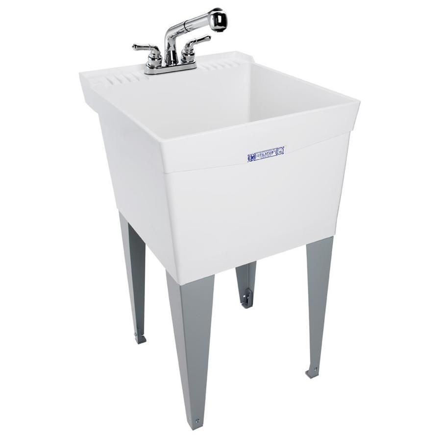 Mustee 20 In X 24 In White Freestanding Polypropylene Utility Sink