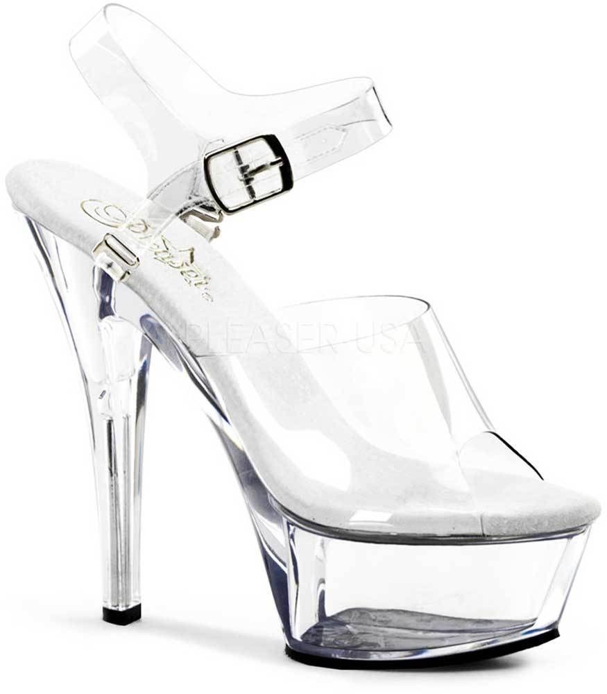 Sexy Ankle Strap Sandales Clear Stiletto Platform Stiletto Clear High Heels Schuhes ... 908b86
