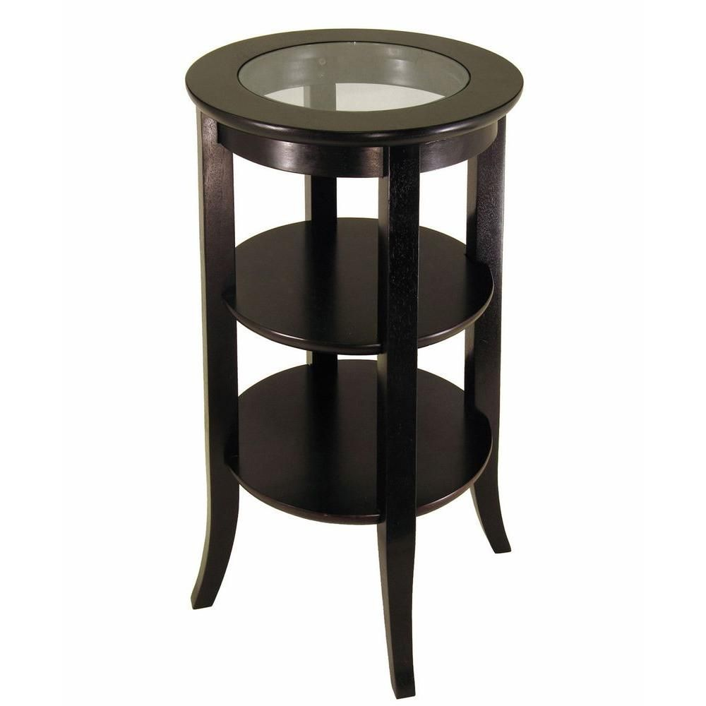 Modern glass end table  MegaHome Shelves Glass Wood Round Accent TableMH  The Home