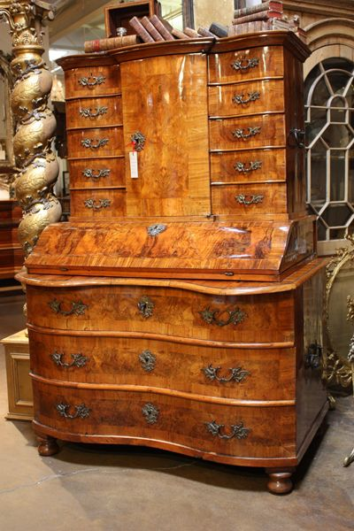 This antique German secretary circa 1780 is made in three parts. It is  covered with - This Antique German Secretary Circa 1780 Is Made In Three Parts. It