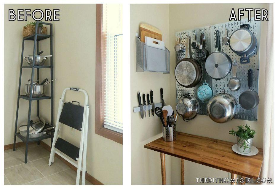 Cookware Pots Pans Cutting Board Knives Kitchen Corner Vertical Storage  Pegboard Sideboard Makeover The DIY Homegirl