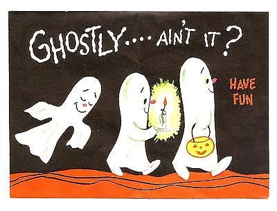 VINTAGE 1950s Gibson HALLOWEEN Waving Ghost Holding JOL Greeting Card