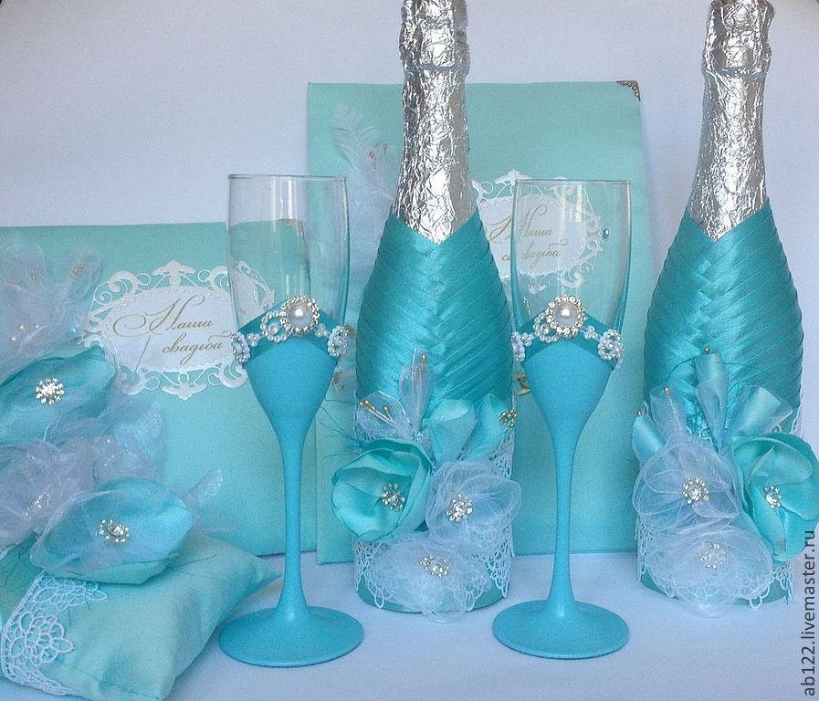 Бирюзовые бокалы на свадьбу