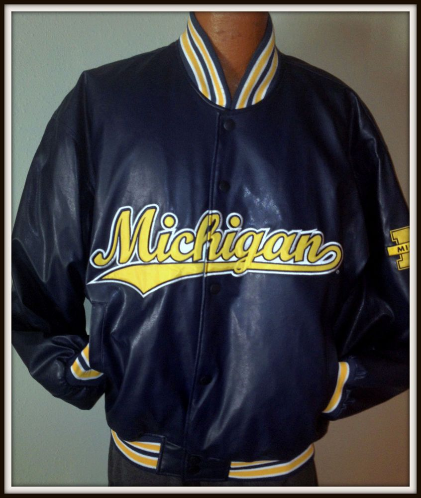 587df7018 MICHIGAN WOLVERINES STEVE & BARRYS FIRST STRING EMBROIDERED FAUX ...
