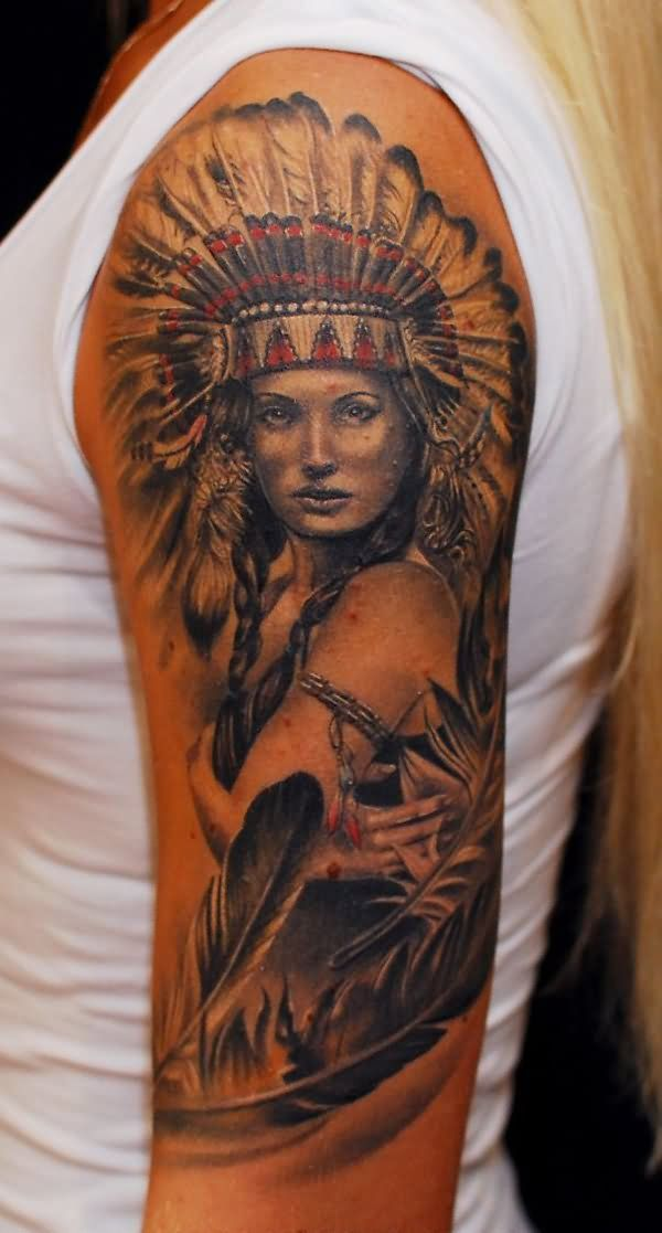 Attractive Indian Chief Female Tattoo On Left Half Sleeve Skin