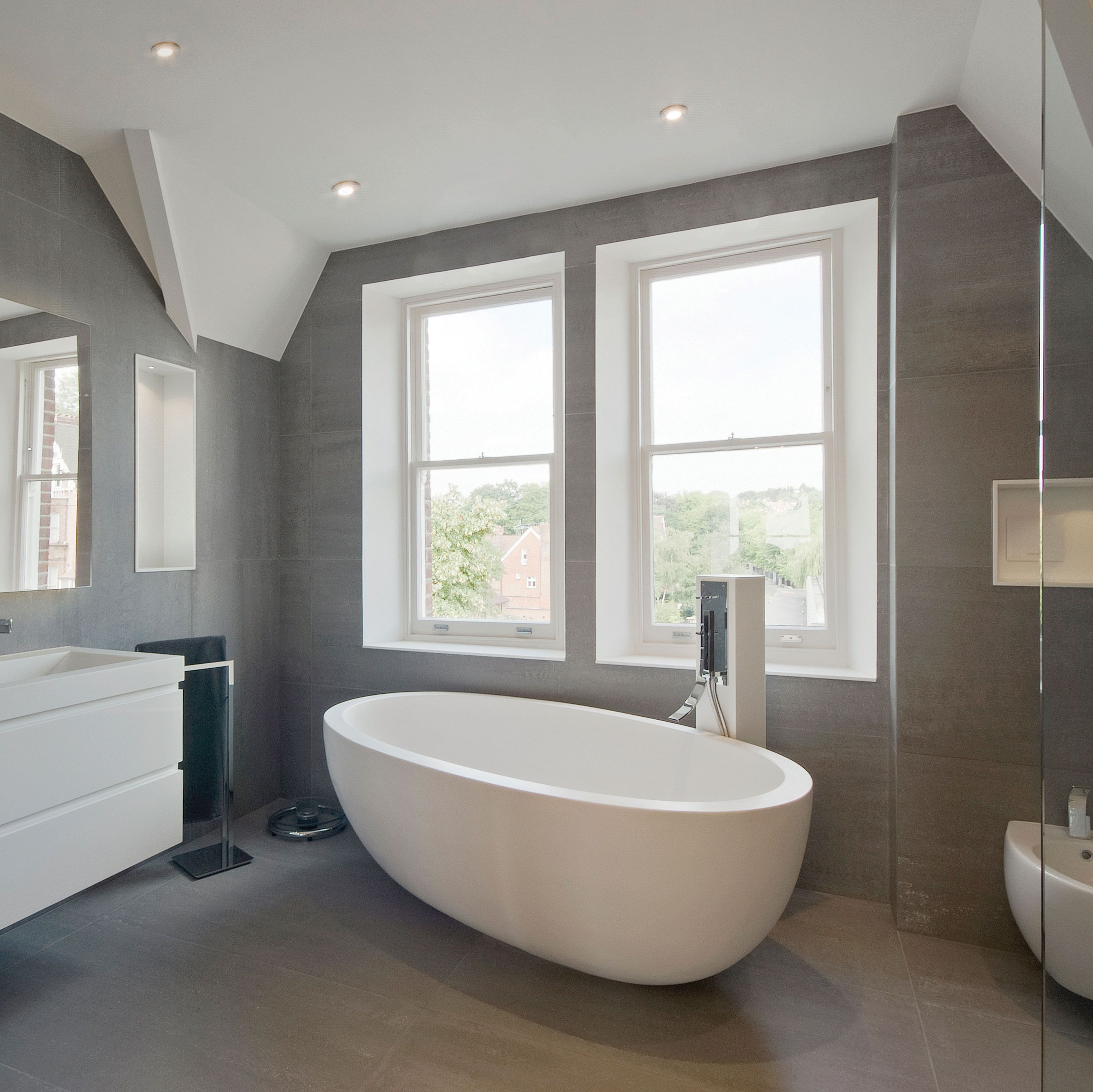 Superb A Modern And Chic Residential Bathroom Project. Featuring Wall To Floor  Speckled Grey Tiles From