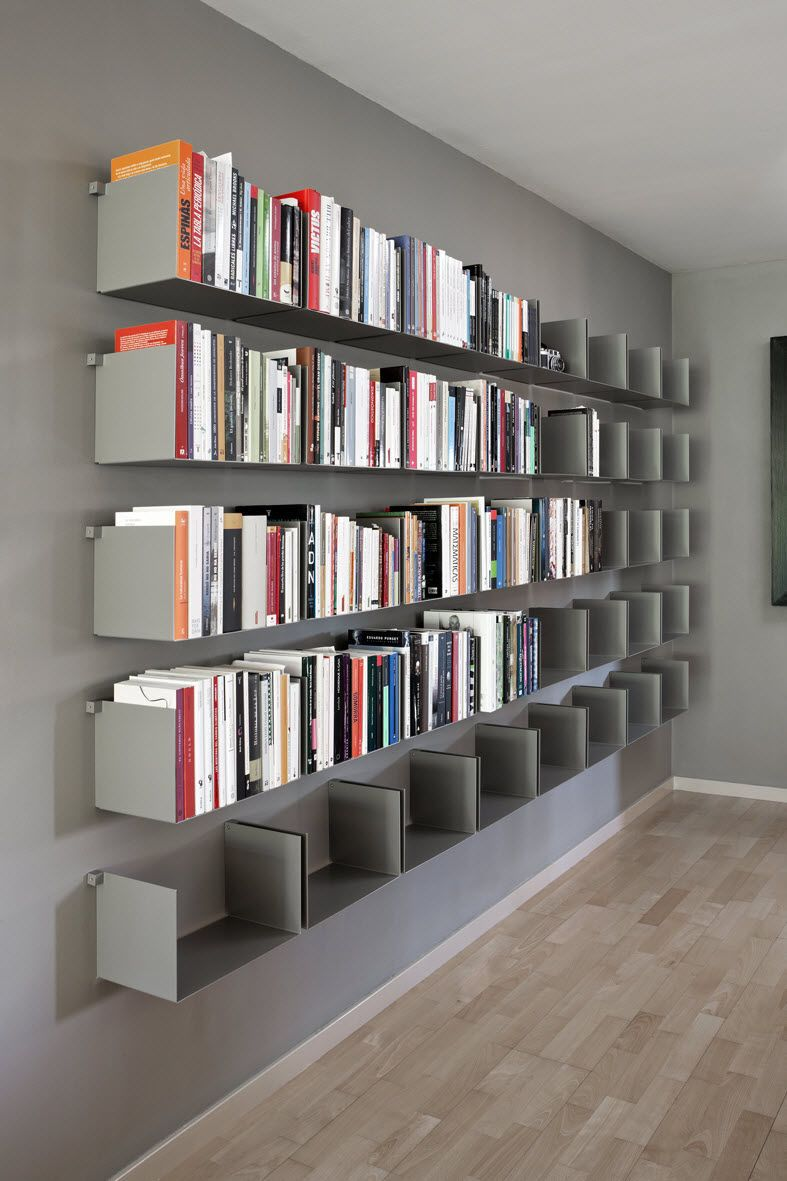 Tag re contemporaine murale en m tal noa by carme for Etagere pour bibliotheque murale
