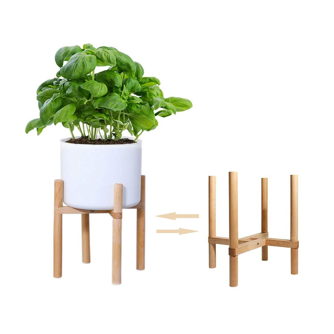 Wood Flower Pot Potted Rack Holder Modern Home Display Plant Stand for Indoors