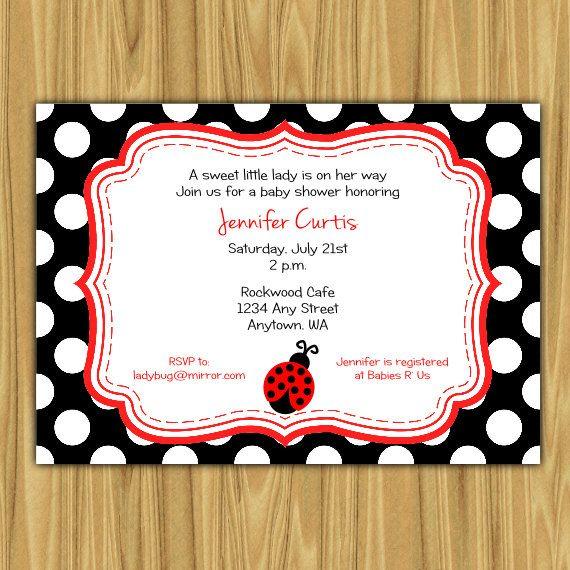 Ladybug baby shower invitation babyshower baby invitation ladybug baby shower invitation for baby girl red printable via etsy filmwisefo Image collections