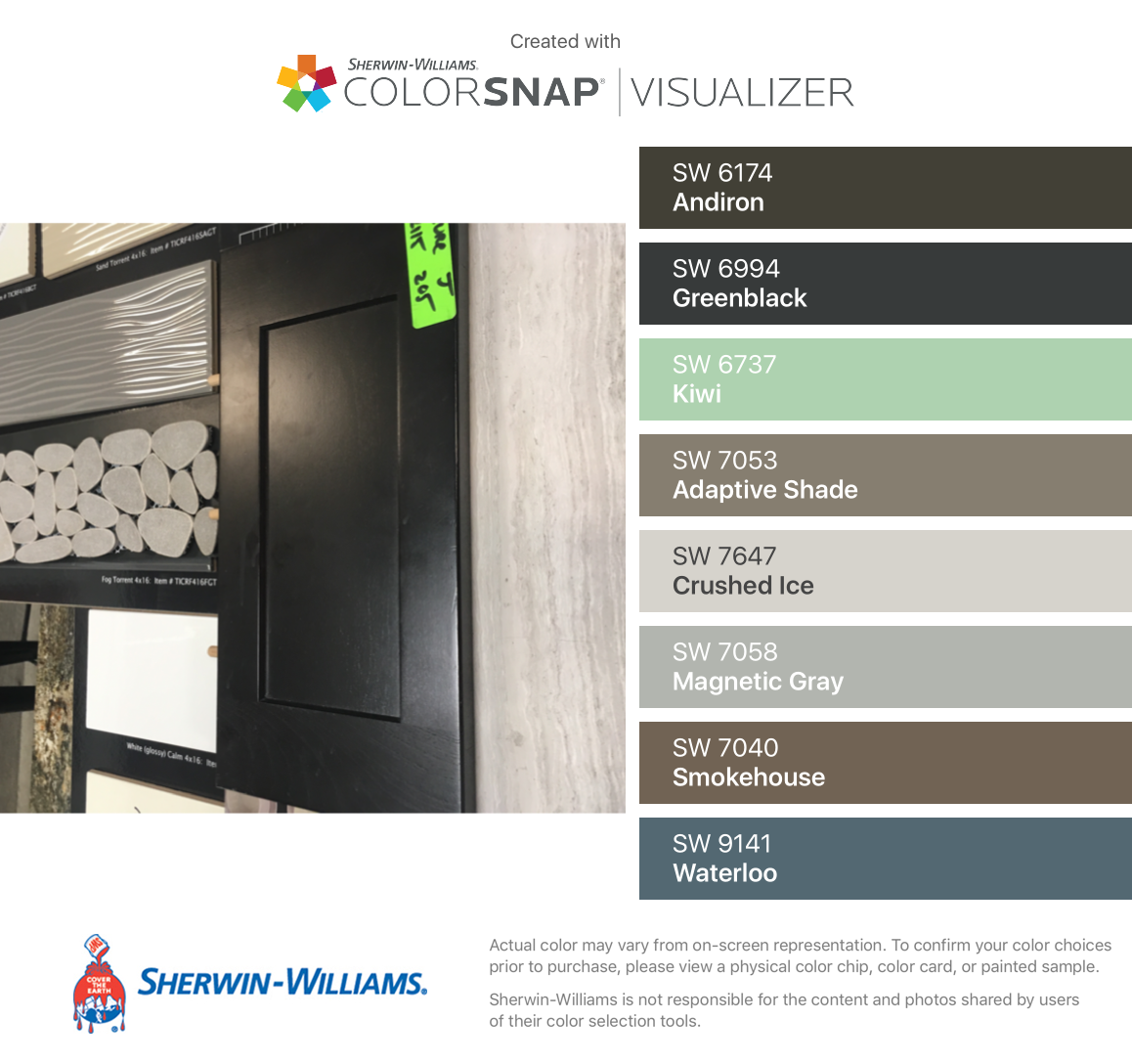 I found these colors with colorsnap visualizer for iphone by sherwin williams andiron sw 6174 greenblack sw 6994 kiwi sw 6737 adaptive shade sw