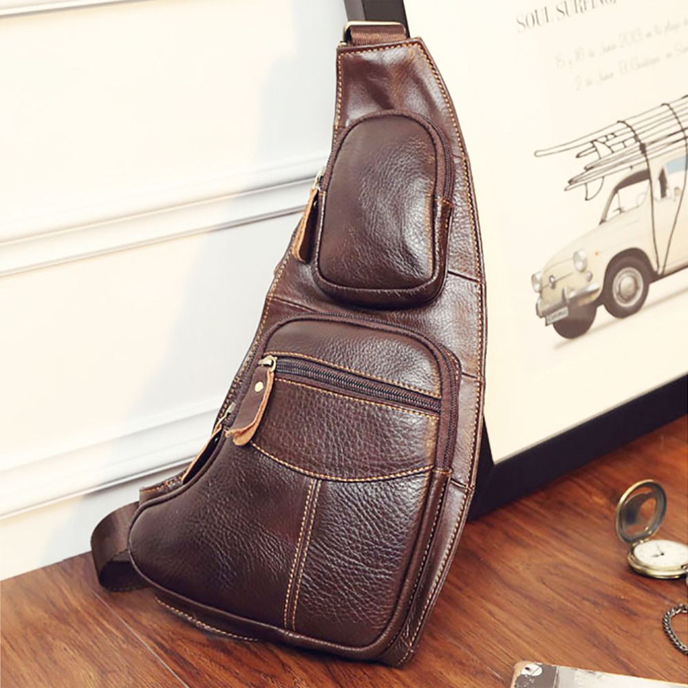 Men Genuine Leather Chest Back Day Pack Travel CrossBody Messenger Shoulder Bag