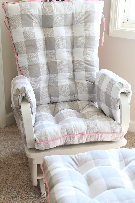 Buffalo Checks In Ecru Add Custom Glider Cushions To Your Decor At Miss Polly S Piece Goo Glider Rocker Cushions Rocking Chair Cushions Rocking Chair Nursery