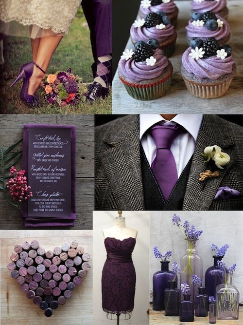 Fall Wedding Palette: Deep Purple and Charcoal - Elegant Wedding ...
