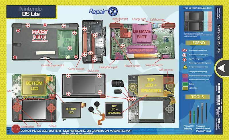 Nintendo DS Lite Repair Schematic in 2019   Products   Nintendo ds on