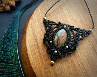 Macrame necklace with Jade stone by EarthBoundMacrame on Etsy