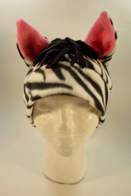 Hat fleece zebra with black mane by debranewmanart on etsy debra