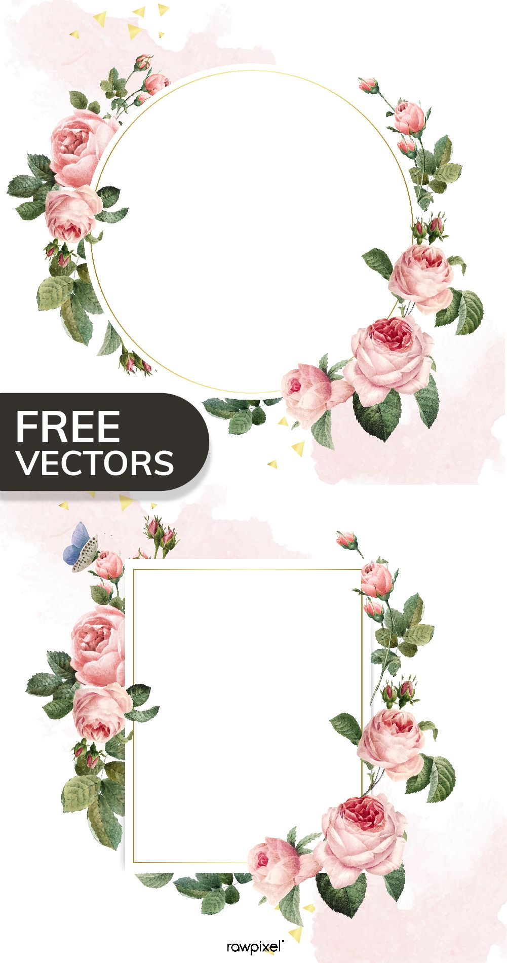 Download This Cool Free Set Of Floral Frame Vectors And Many More Mockups Vectors Illustrations And Stock Photos Floral Border Design Flower Frame Floral