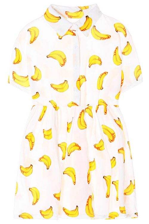 7604bb2579a18 Turn-Down Collar Banana Print Short Sleeve Dress | Clothing Wishlist ...