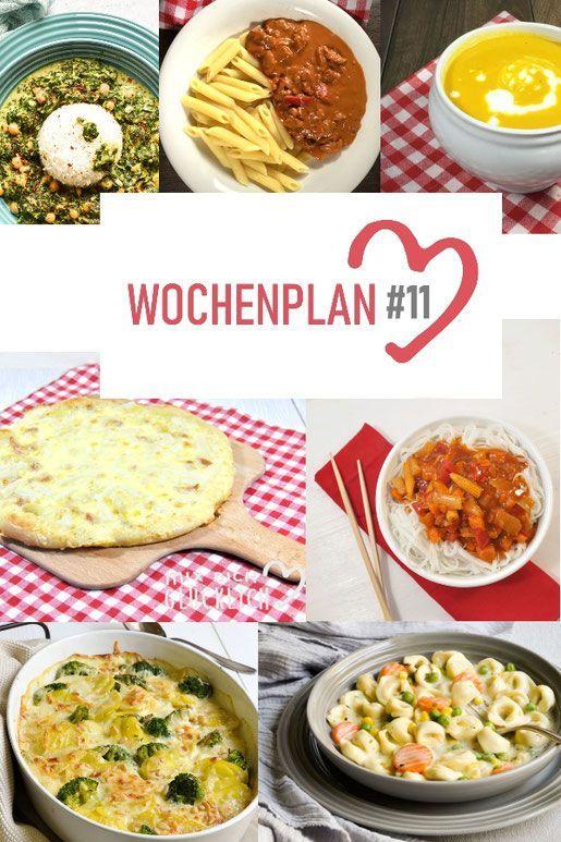 Programma settimanale n. 11. Varie idee per ricette per una settimana.
