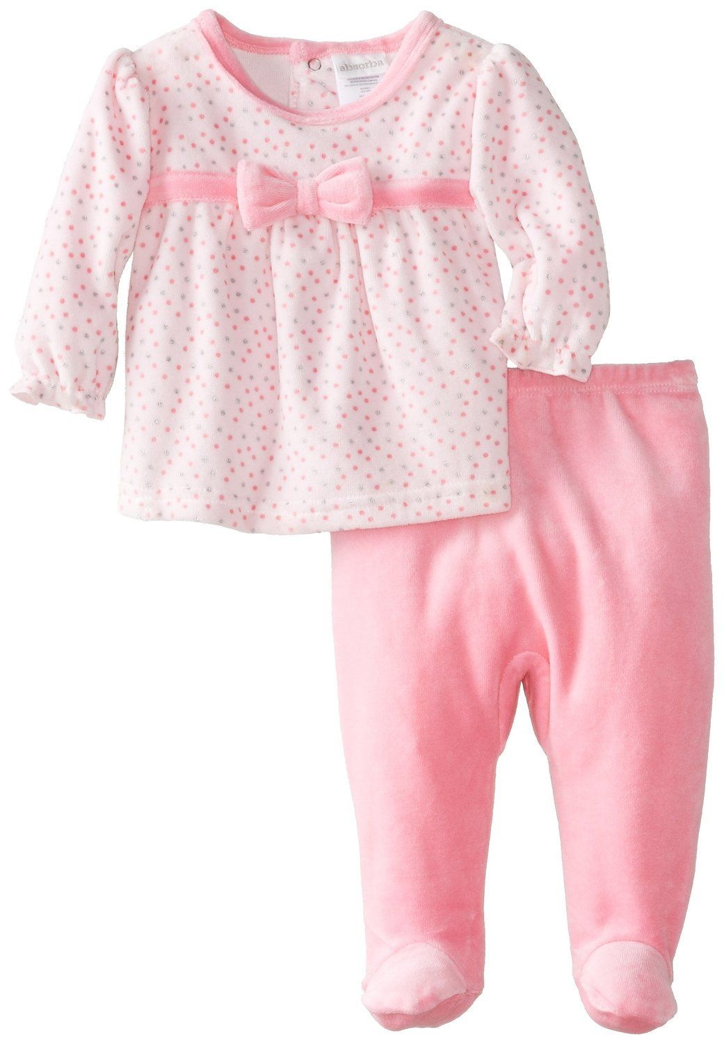 49446842aaf9 Amazon.com  ABSORBA Baby-Girls Newborn G Velour Bow Multi Dot Footed ...