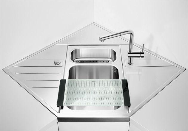 Blanco 512577 Blancoaxis 9 E-M Spülen-Eckmodul Edelstahl Edelstahl - Arbeitsplatte Küche Edelstahl