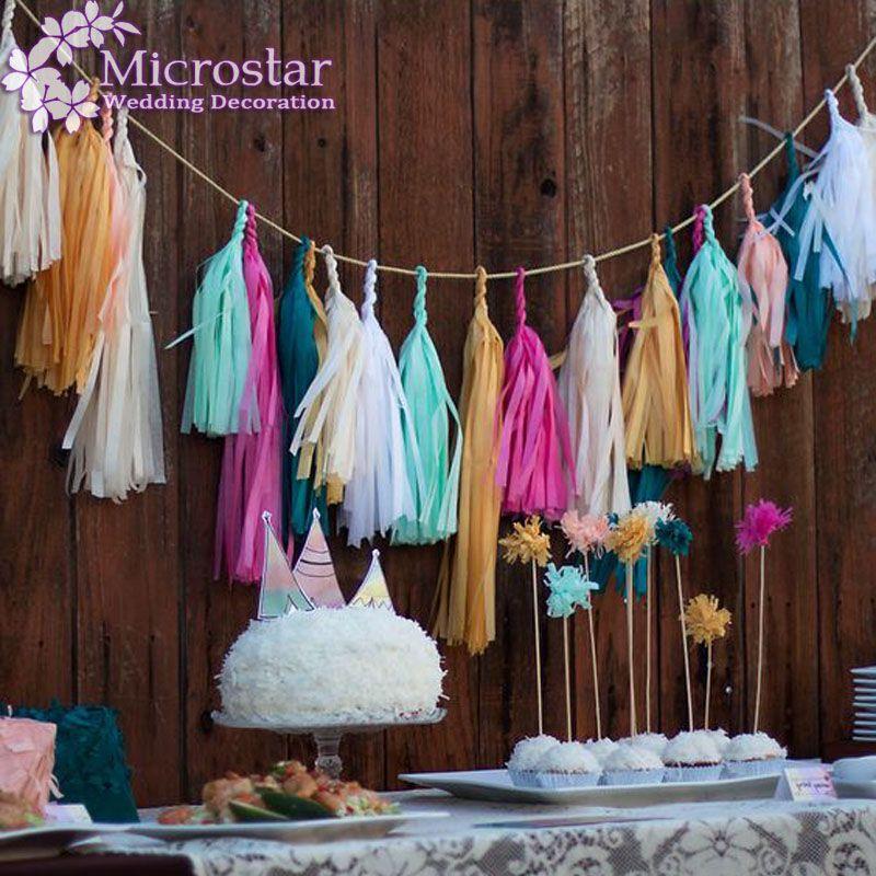 5Pcs 35cm Tissue Paper Tassels Garland Wedding Decoration Birthday Baby  Shower Frozen Party Home Paper Craft