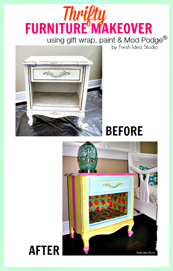 Easy DIY Thrifty Furniture Makeover you can do! Ideas for your next bright BOLD happy furniture redo at Fresh Idea Studio ~ Your place for DIY