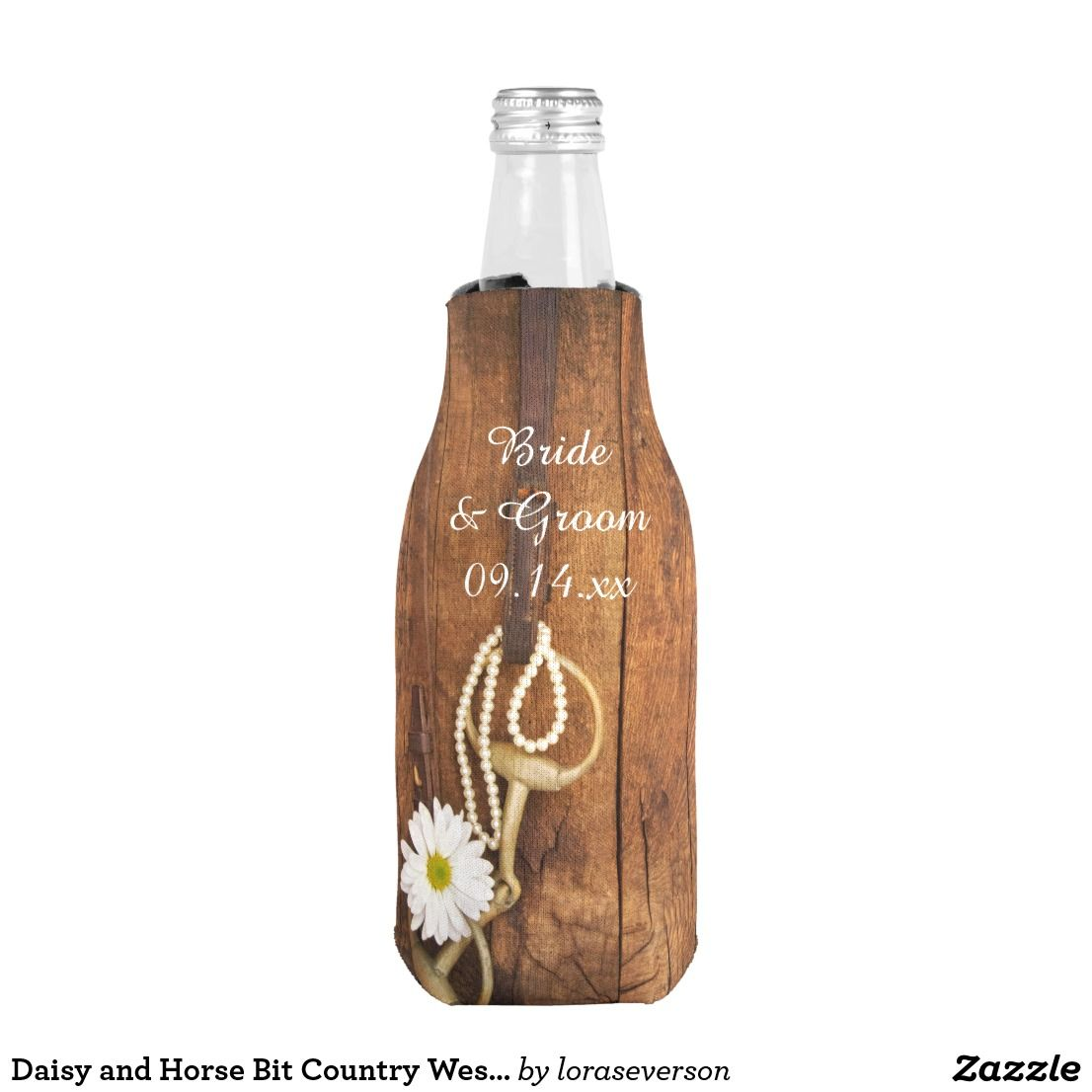 Daisy and Horse Bit Country Western Wedding Favor Bottle Cooler ...