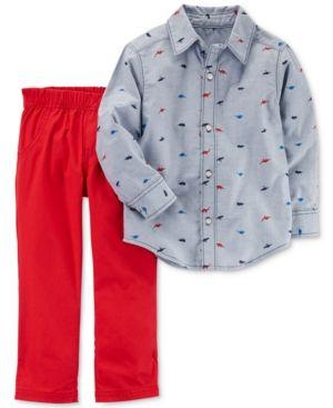 37df939932b1 Carter s 2-Pc. Dinosaur-Print Shirt   Pants Set