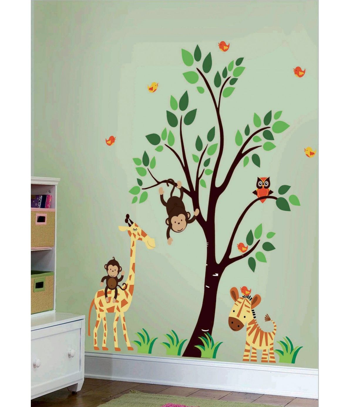Artistic Vinyl Blik Mural Wall Sticker Jungle Family Wall Decal - Nursery wall decals jungle
