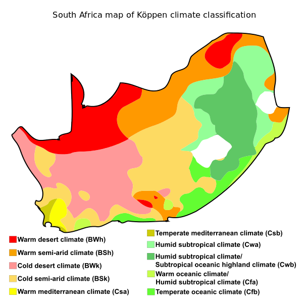 South Africa Map Of Köppen Climate Classification Maps Of Africa - Africa climate map