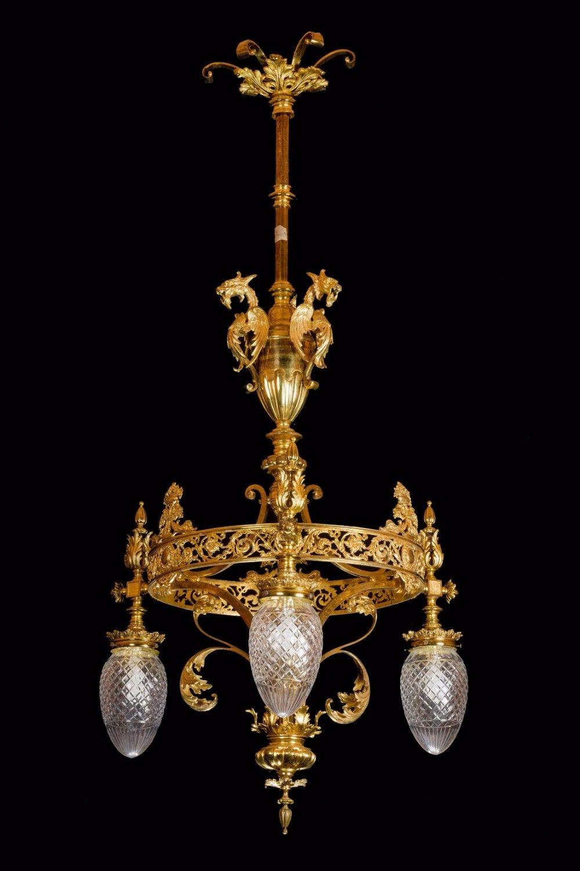 19th Century Gilt Bronze Chandelier Bronze chandelier