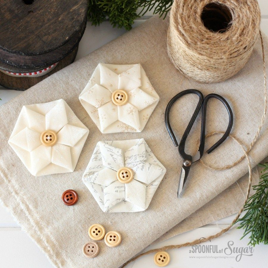 Folded Hexagon Ornament From A Spoonful Of Sugar Fabric Christmas Ornaments Quilted Christmas Ornaments Folded Fabric Ornaments
