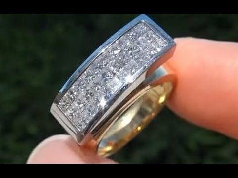 eb2f5176d08d6 CERTIFIED Invisible Set Princess Cut Art Deco Diamond Cocktail Ring ...