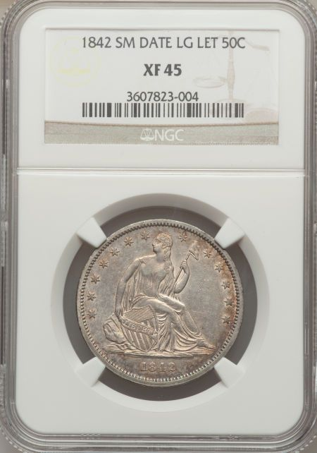 1842 50C Small Date, Large Letters XF45 NGC. NGC Census: (17/108). PCGS Population (11/56).