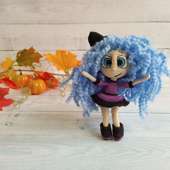 Items similar to Little Halloween witch on a broom doll, collectible Halloween decoration on Etsy