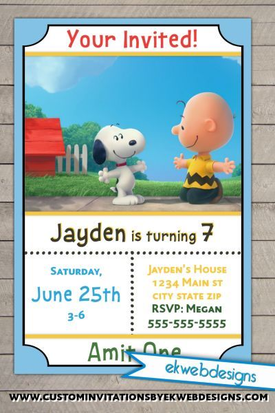 Snoopy and Charlie Brown Birthday Invitations The Peanuts Movie – Snoopy Party Invitations