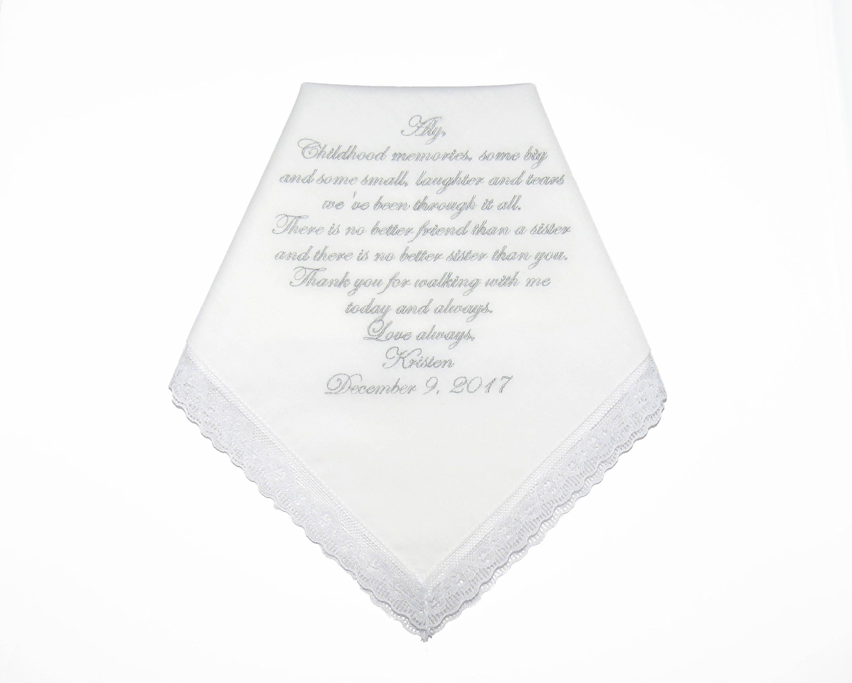 Sister of the bride wedding gift - keepsake handkerchief - http ...