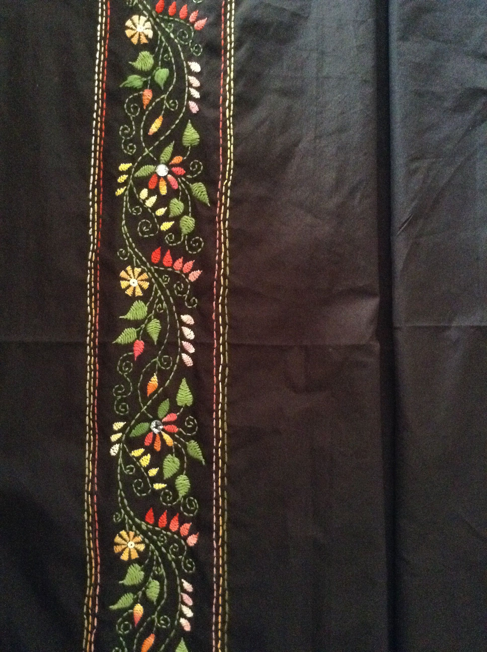 Kantha work border design my embroidery creations