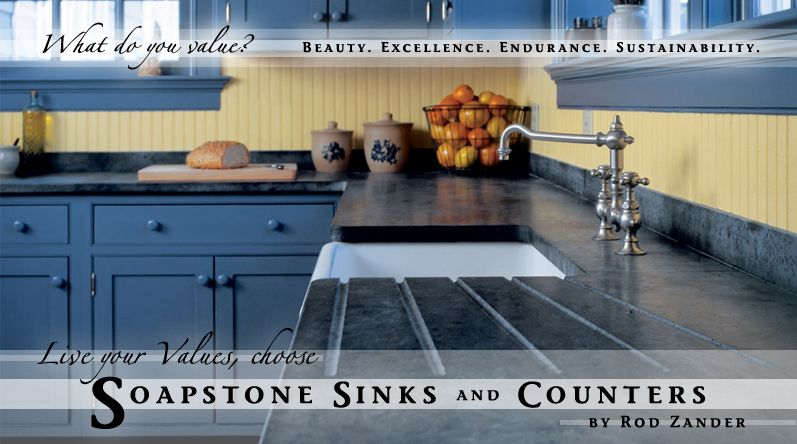 Black And Blue Kitchen Dinning Soapstone Counters Soapstone