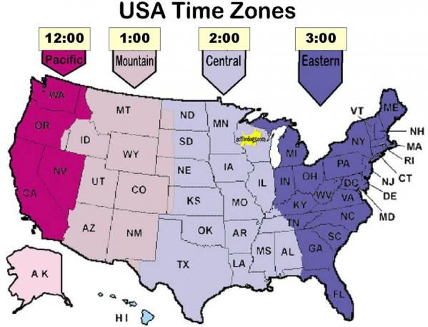Time Zone Map Detailed You May Contact Us Either By Mail Phone - Us time zone map with times