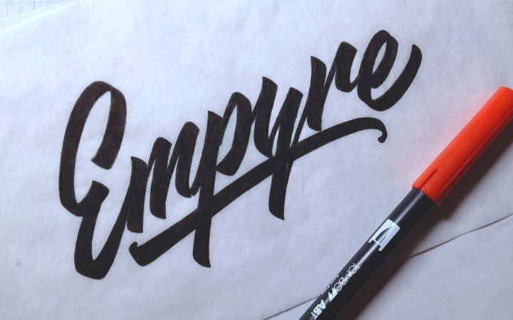 Circle copper logo calligraphy logo photograhy by visualpixie