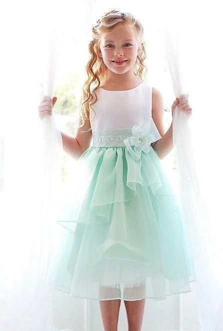 87e516d1566 Satin White Mint Green Organza Flower Girls Dress Pageant Formal Party  Summer  Dress  FancyPartyEverydayHolidayPageantWedding
